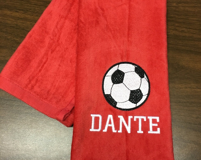 Great Personalized soccer towel, fast turn around, embroidered towel, name and ball, any towel color,