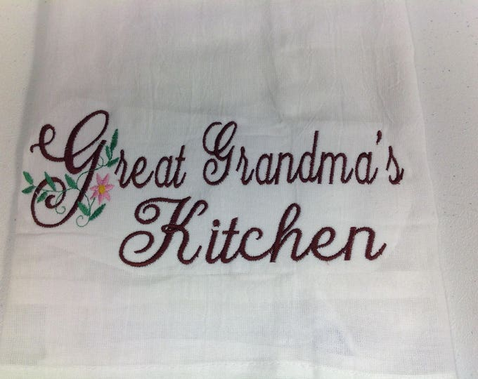 Personalized Kitchen Towel, Flour Sack Towel,  Grandma gift,  personalized embroidery, kitchen towels, dish towels, personalized towels,