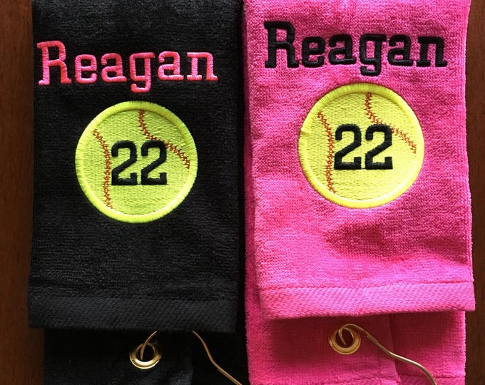 Personalized baseball towel, softball towel, tennis, team gift, school sports, pin towel, with or without hook, includes name and number