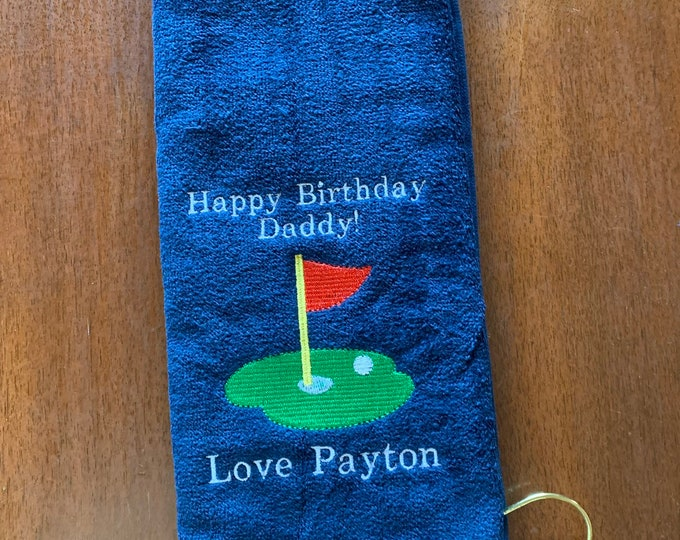 Embroidered golf towels by Linda Kay's Creations