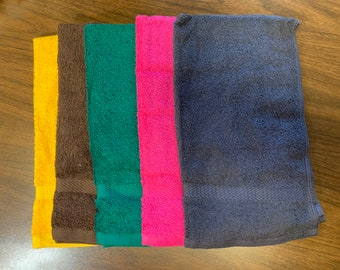 Terry cloth sport towels, premium pluse, 17 x 26, one sport and one name on each, limited supply, while supply last