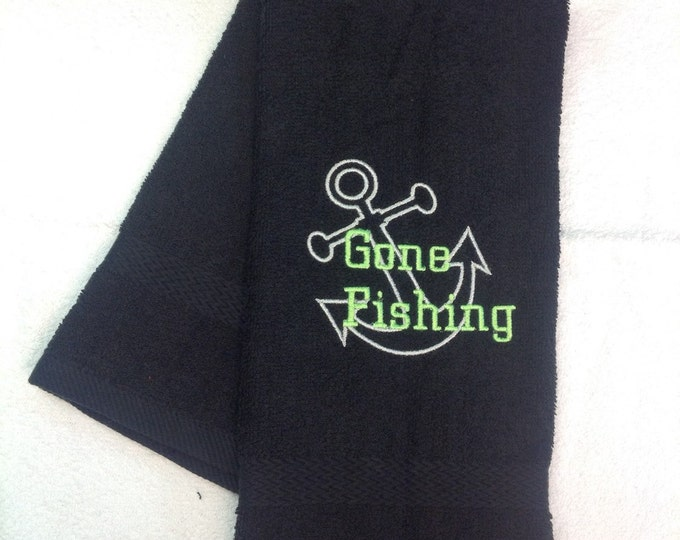 Crappie fishing towel, Personalized Fishing, Fishing towel, personalized towel, camping, fish, Fathers Day, embroidered, camping towel, catf