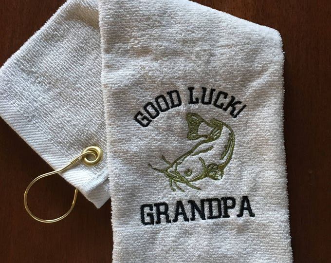 Retirement gift, Fishing towel, personalized, embroidered towels, camping, kitchen towel, fish, fathers day, embroidered, camping, man cave,