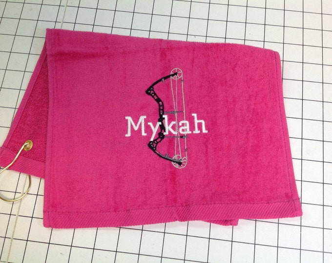 Archery, Personalized towel, personalized gift, embroidered, custom made, archery team, bow shooting towel, message for team orders