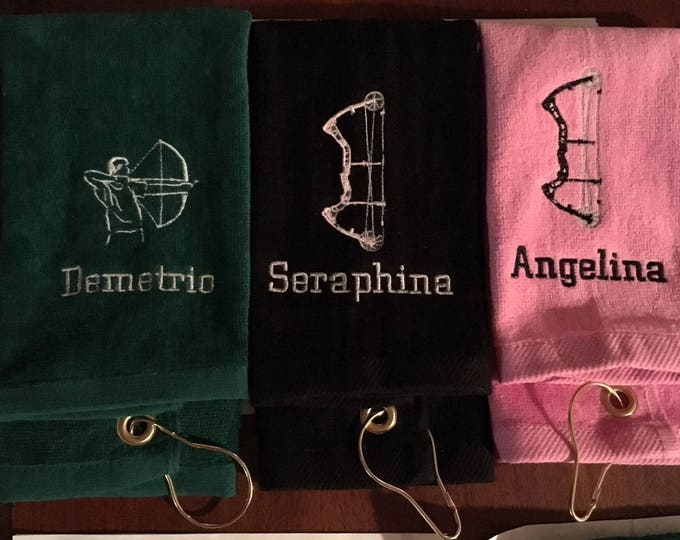 Archery team towels, Personalized, Archery, bow hunting, Personalized towel, personalized gift, embroidered, archery team, bow shooting