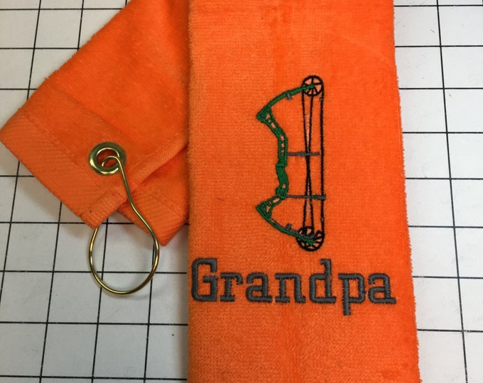 Archery, bow hunting, Personalized towel, personalized gift, embroidered, custom made, archery team, bow shooting towel, message for team or
