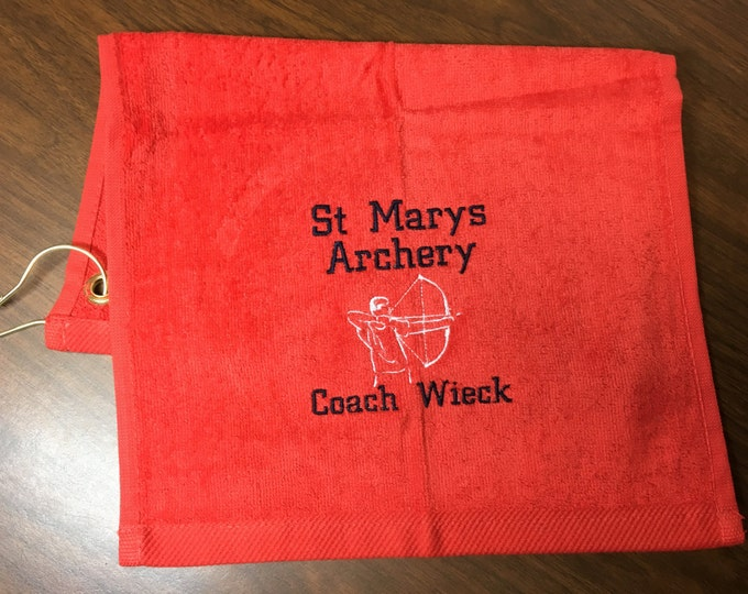 Archery, bow hunting, Personalized towel, personalized gift, embroidered, archery team, bow shooting towel, message for team  discount
