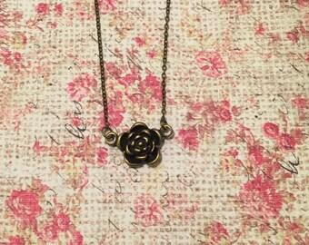 Antique Bronze Flower Necklace