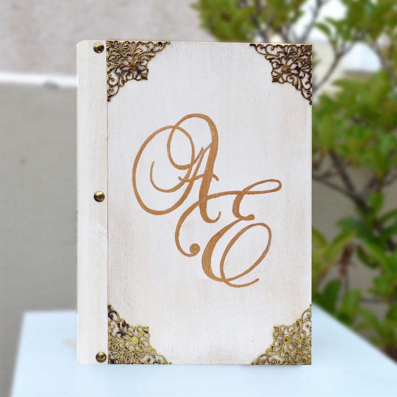couple/'s initials wedding guestbook Monogram book wood decor blank guestbook initials on wood initials book antique notebook
