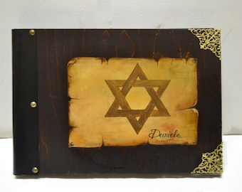 Star of David, Jewish art, Hanukkah gift, Jewish star, Hebrew art, Jewish religion, unique album, vintage scrap book, photography album