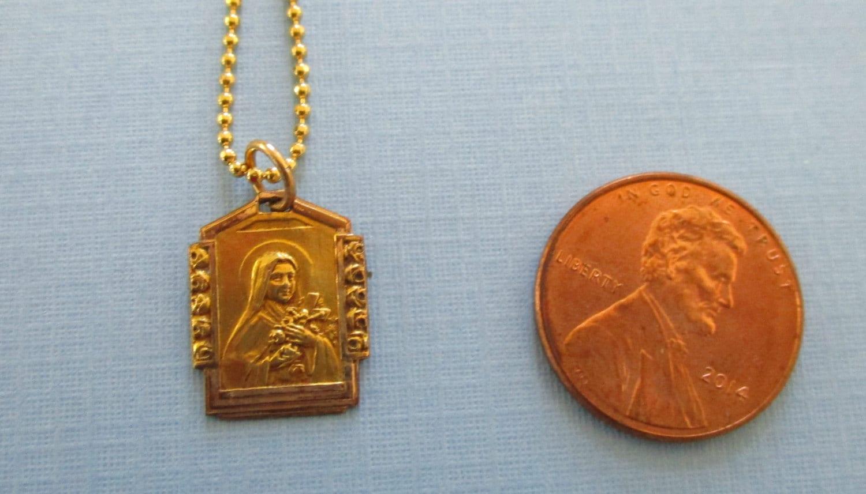 Gold Saint Teresa Religious Medal - French Religious Medal - Antique