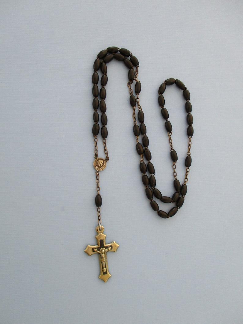 Virgin Mary Necklace Catholic Gifts Unisex Necklace Religious Jewelry Antique Ebony Rosary Necklace French Religious