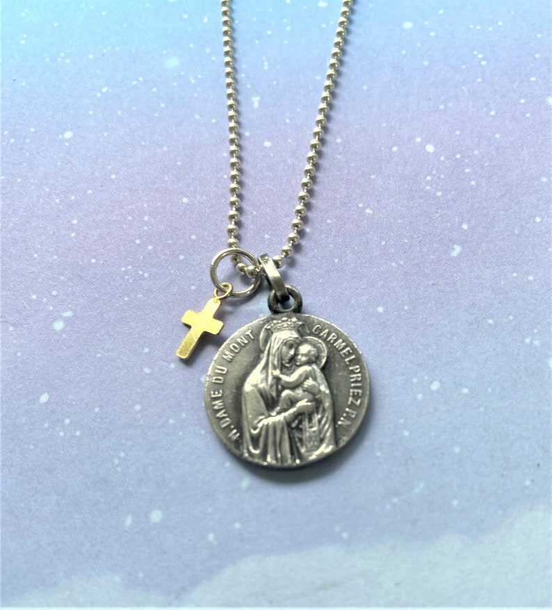 Catholic Gifts Virgin Mary Necklace French Religious Medal Silver Madonna and Child Assemblage Necklace Religious Jewelry
