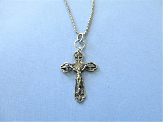 Inc Lot of 5 Gifts Catholic Made in Italy Filigree-Style Crucifix 1 3//4 Silver Oxidized Rosary Cross Crucifix Pendant