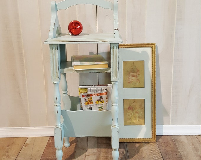PICK UP ONLY Vintage Shabby chic telephone table, farmhouse, country bedroom, cottage night stand, magazine table, french country,