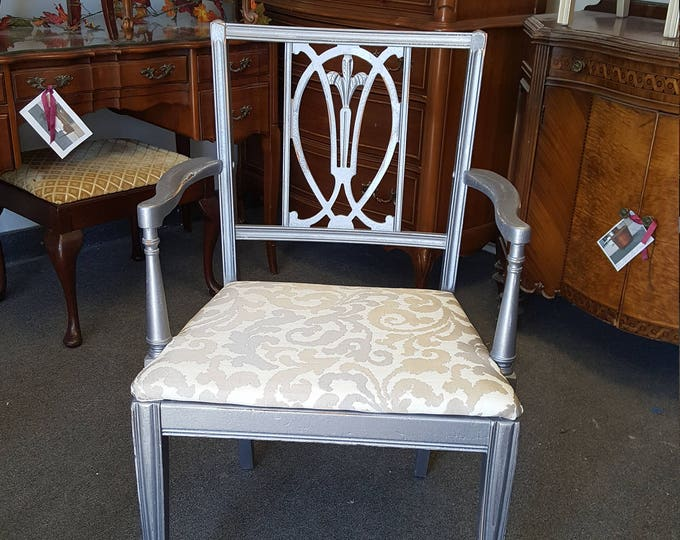 PICK UP ONLY Vintage Metallic pewter arm chair, shabby chic glam, distressed, accent, side, metallic fabric,france bedroom, french county,