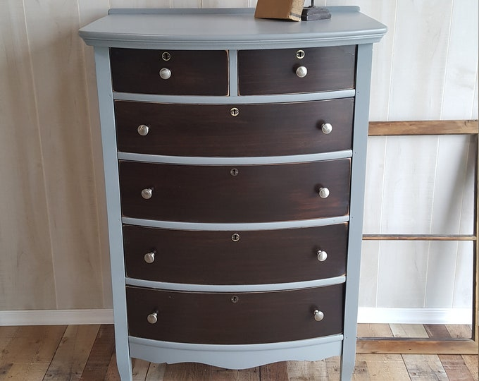 PICK UP ONLY Vintage Shabby Chic Tall Dresser, Chest, stained wood, gray, bureau,french country chest, france, tall boy, rustic, farmhouse,