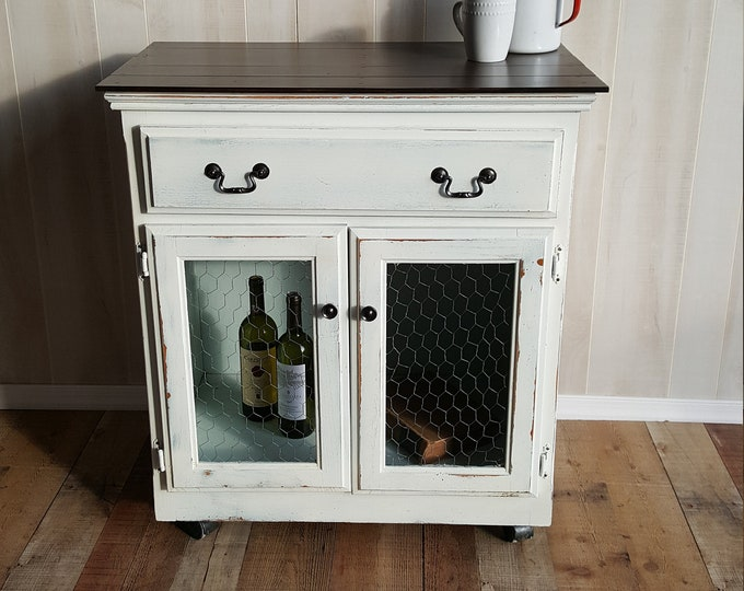 PICK UP ONLY, Vintage cabinet coffee bar, farmhouse storage cabinet, pantry, country cottage, rustic, distressed shabby chic, wine bar