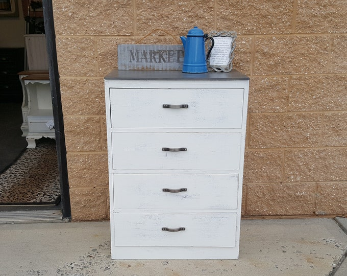 PICK UP ONLY Vintage Farmhouse rustic chest, Shabby Chic Dresser, Chest, distressed planked bureau, french country chest, farmhouse,