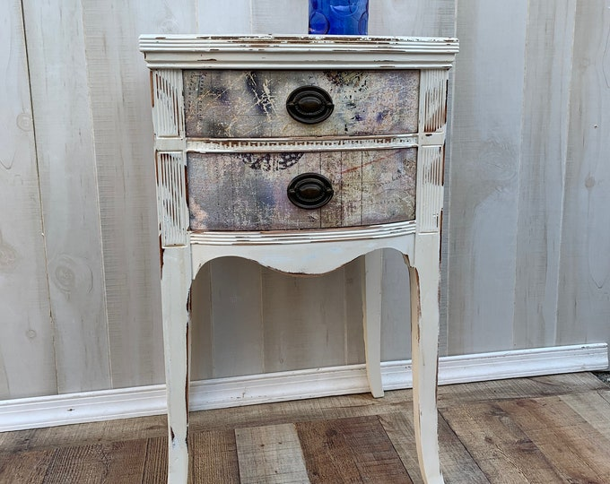 Vintage Shabby chic table, accent table, farmhouse, country bedroom, cottage night stand, bedside table, french country, PICK UP ONLY