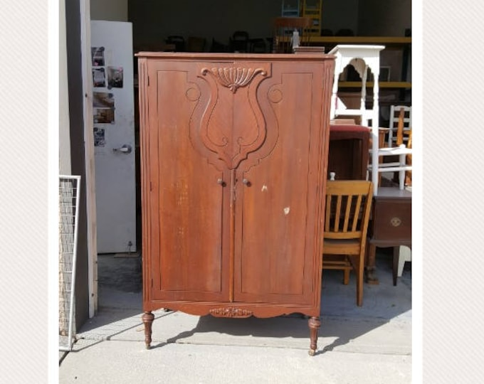 PICK UP ONLY,Vintage Wardrobe, Closet, Armoire, painting inc., Farmhouse, rustic, shabby chic storage, custom painted bedroom dresser, chest