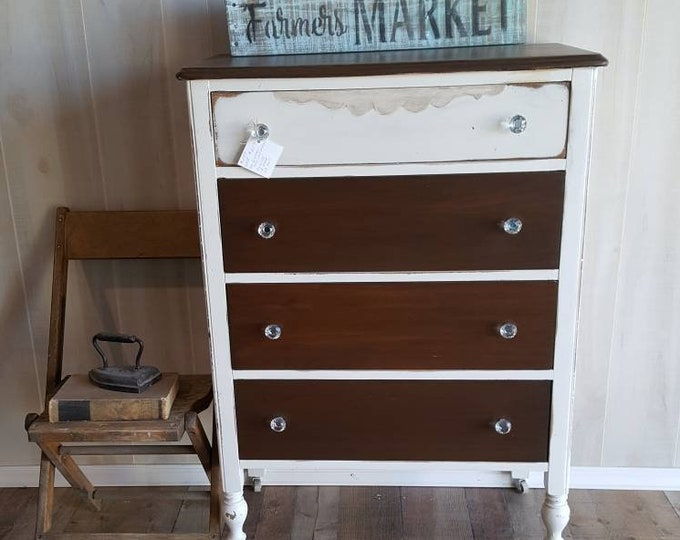PICK UP ONLY Vintage Shabby Chic Tall Dresser, Chest, distressed, bureau,french country chest, france, tall boy, rustic, farmhouse,