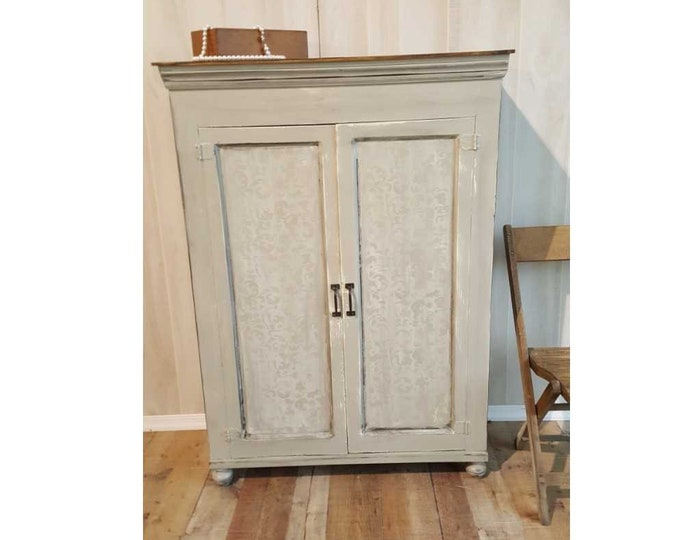 PICK UP ONLY, Vintage cabinet farmhouse storage, pantry, rustic coffee bar, country cottage, handpainted, distressed shabby chic, wine bar
