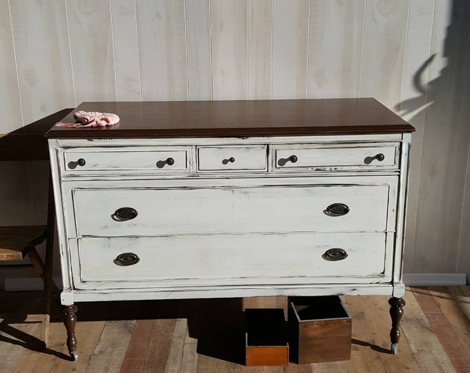 PICK UP ONLY Vintage French Shabby Chic Dresser. Distressed white, stained top, bureau,french country, france, dresser, rustic, farmhouse