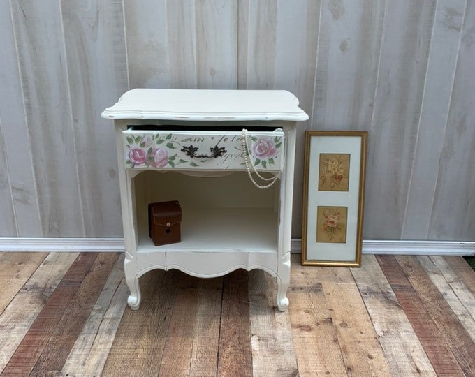 Vintage French Shabby Chic night stand.  Distressed white, french country, france, table,rustic, farmhouse,PICK UP ONLY