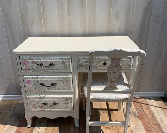Vintage French Shabby Chic desk and chair set. Distressed white, french country, france, table,rustic, farmhouse PICK UP ONLY