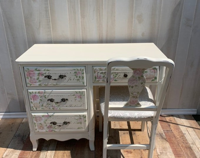PICK UP ONLY Vintage French Shabby Chic desk and chair set. Distressed white, french country, france, table,rustic, farmhouse