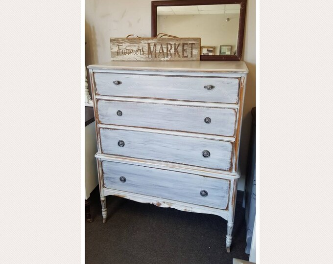 PICK UP ONLY Vintage Shabby Chic Tall Dresser, Chest, driftwood finish, bureau,french country, france, tall boy, rustic, farmhouse, bedroom