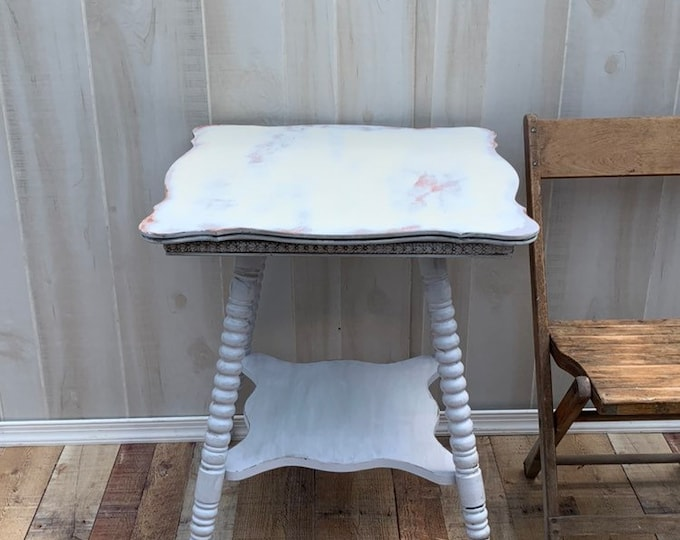 Vintage Shabby chic table, accent table, farmhouse, country bedroom, cottage night stand, bedside table, french country,PICK UP ONLY