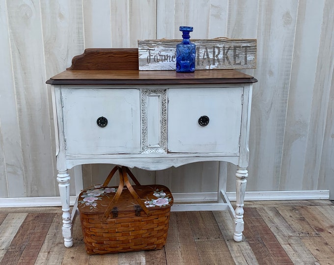 Vintage French Shabby Chic Buffet, server, sideboard, storage.  Distressed white,stained top, french country, rustic, farmhouse PICK UP ONLY