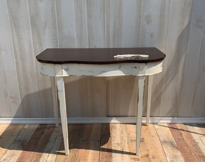 PICK UP ONLY Vintage Shabby chic table, accent table, farmhouse, country console table cottage, stained top, painted and distressed base