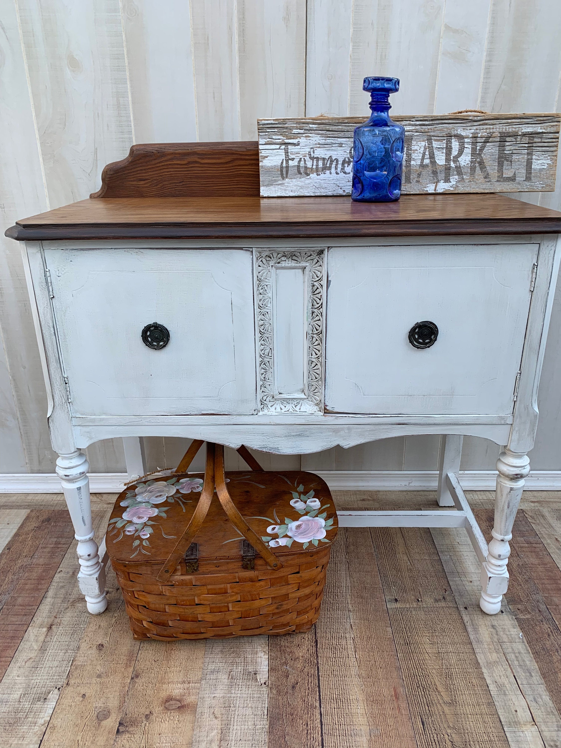 Vintage French Shabby Chic Buffet Server Sideboard Storage