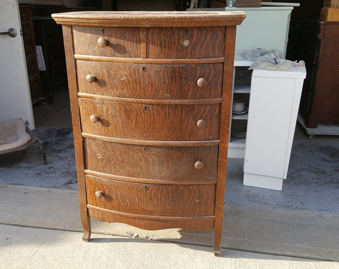 PICK UP ONLY Vintage Shabby Chic Tall Dresser, Chest, painting inc., bureau,french country chest, france, tall boy, rustic, farmhouse,