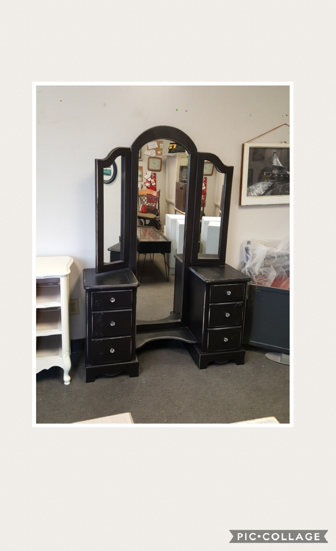 Tremendous Pick Up Only Vintage Vanity With Mirror And Bench French Ibusinesslaw Wood Chair Design Ideas Ibusinesslaworg