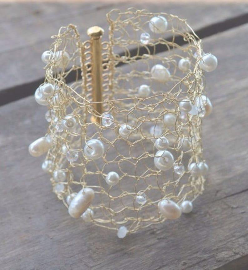 Gold Bracelet  Gold Cuff  Knit Gold Cuff  Knit Metal Cuff  image 0