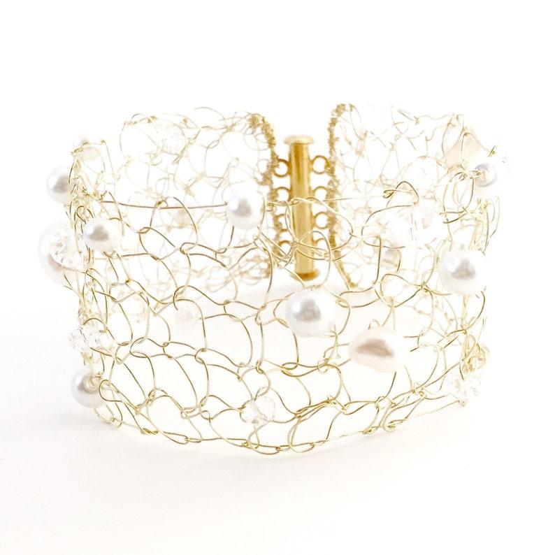Gold Bracelet  Gold Cuff  Bride Bracelet  Knit Metal Cuff  image 0