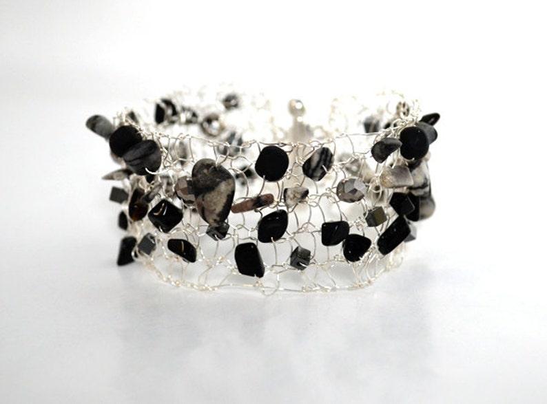 Silver Bracelet  Silver Cuff  Knit Silver Cuff  Knit Metal image 0