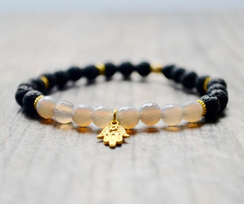 Strength  Grounding  Hamsa Bracelet  Healing Jewelry  Lava image 0