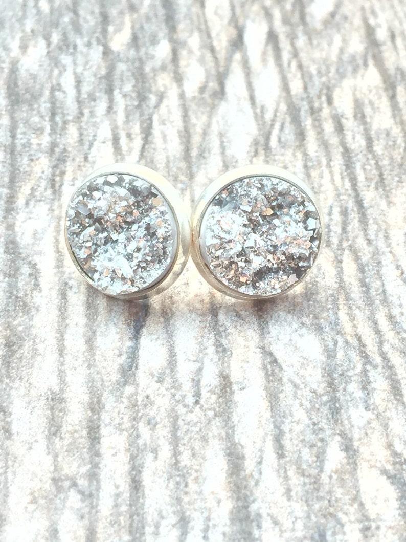 Silver Druzy Earrings   Resin Druzy Earrings  Gemstone image 0