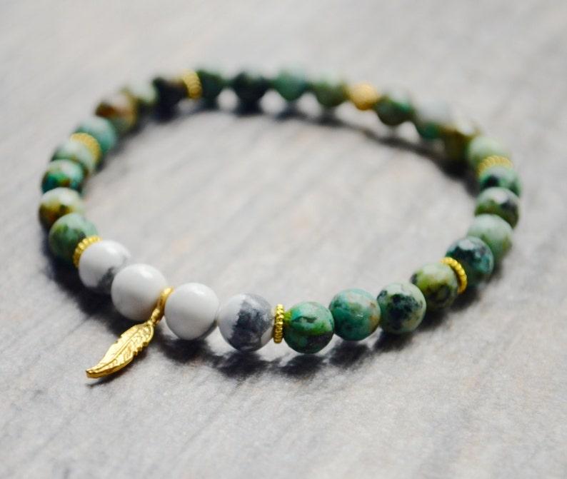 Friendship  Turquoise Bracelet  24k Gold Leaf Bracelet  image 0