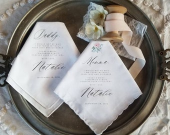 Mother and Father of the Bride Printed Handkerchief Gift Set with Whisper Floral