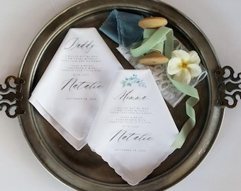 Mother and Father of the Bride Printed Handkerchief Gift Set with Blue Whisper