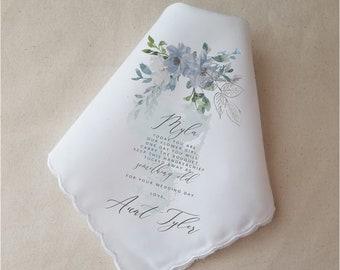 Flower Girl Gift, Wedding Handkerchief For Flower Girl, Printed Handkerchief, Custom Wedding Gift, Dusty Blue