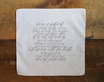Handkerchief Wedding Gift, 1 Corinthians 13:4, Printed Handkerchief, Love is Patient, Love is Kind, Gift For Wedding