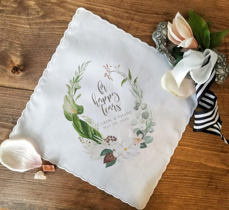 Thank you Gift Wedding Gift for Parents For Happy Tears Wedding Handkerchief Personalized Wedding Gift