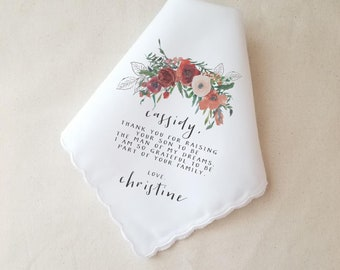 Mother In Law Wedding Gift, Personalized Handkerchief, Wedding Gift to Mother, Custom Wedding Gift, Autumn